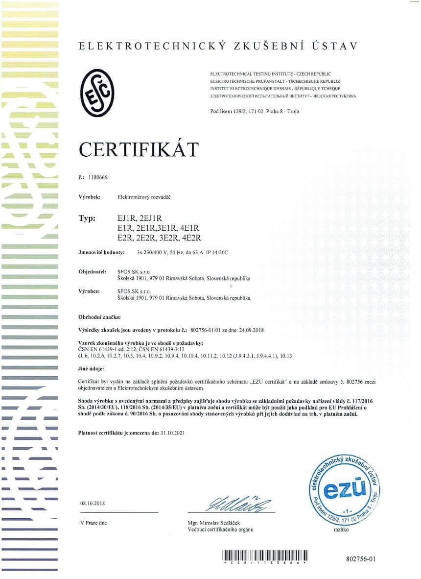 EZU rozvadzace certifikat